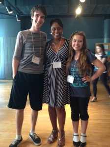 Vocal Coach Schele Williams stops to take a pic with Dakota and Cameron in between rehearsals