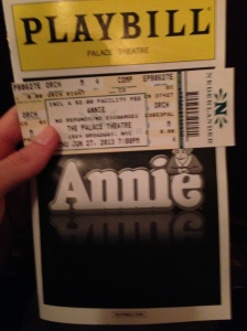 Cameron and Dakota went to see Annie on Broadway!