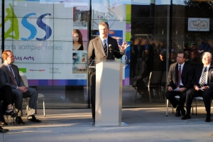 Mayor Mike Rawlings at the DPASS Press Conference on December 2, 2013.
