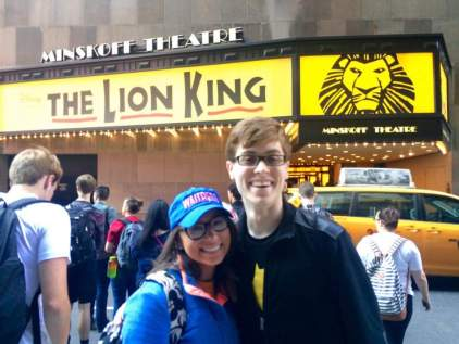 John and Kaiden outside of the Minskoff Theatre: home of THE LION KING and the NHSMTAs!